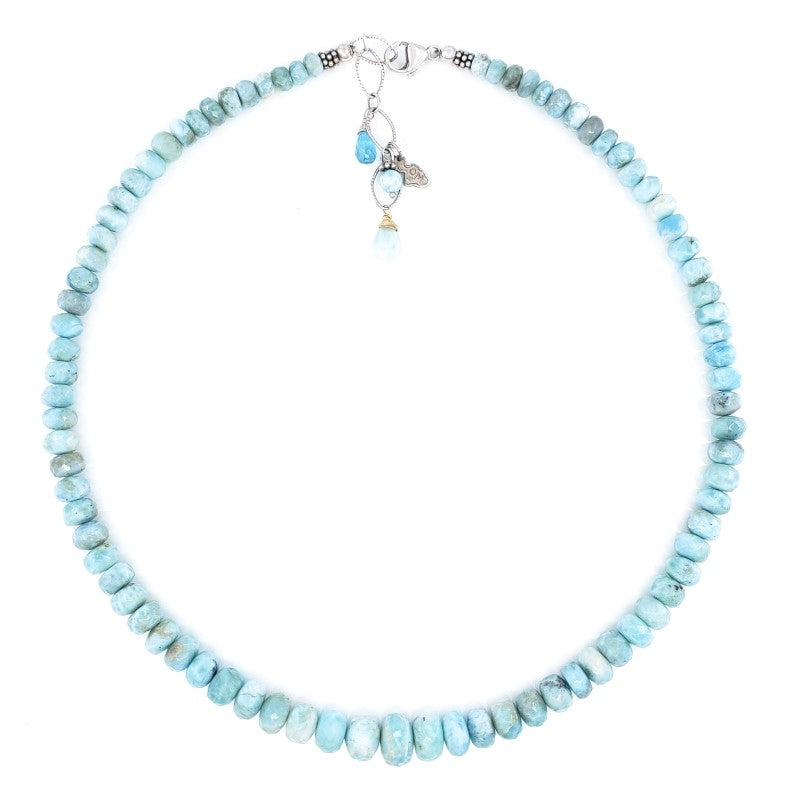 Large Beaded Larimar Necklace