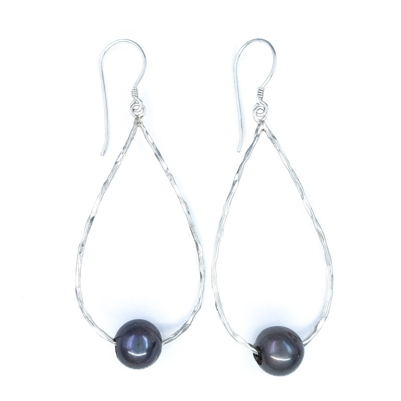 Large Hammered Droplet Earrings with Dark Freshwater Pearls