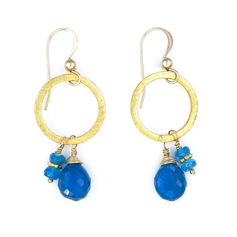 Round Gold Earrings with Apatite