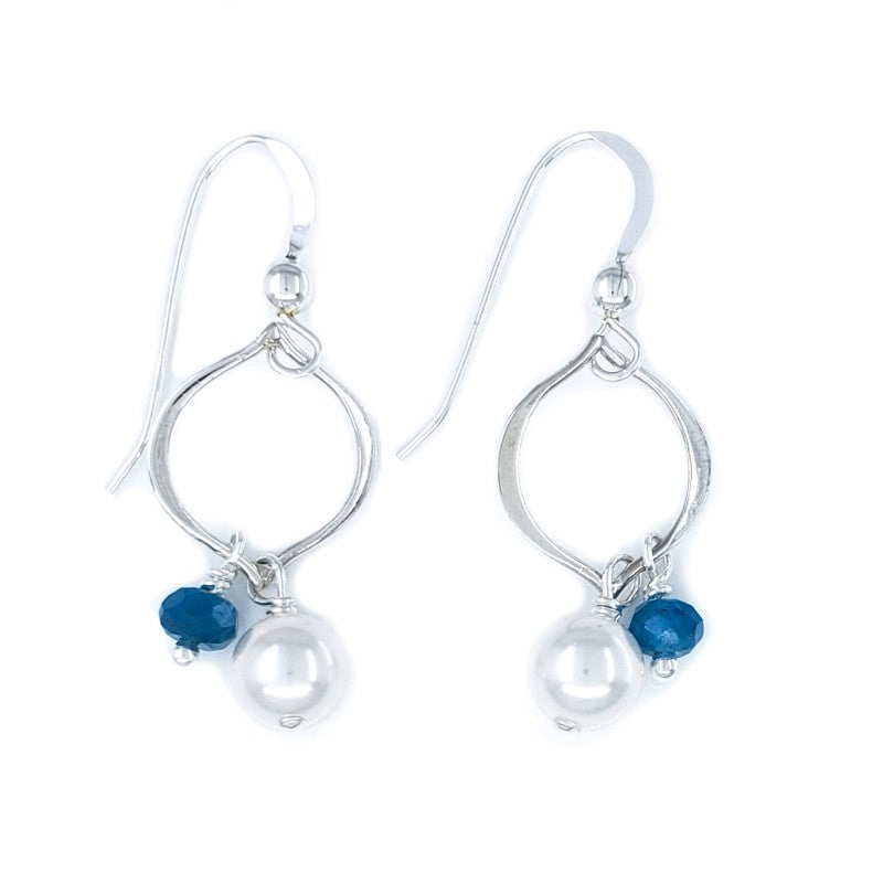 Small Sterling Silver Earrings with White Freshwater Pearls and Apatite