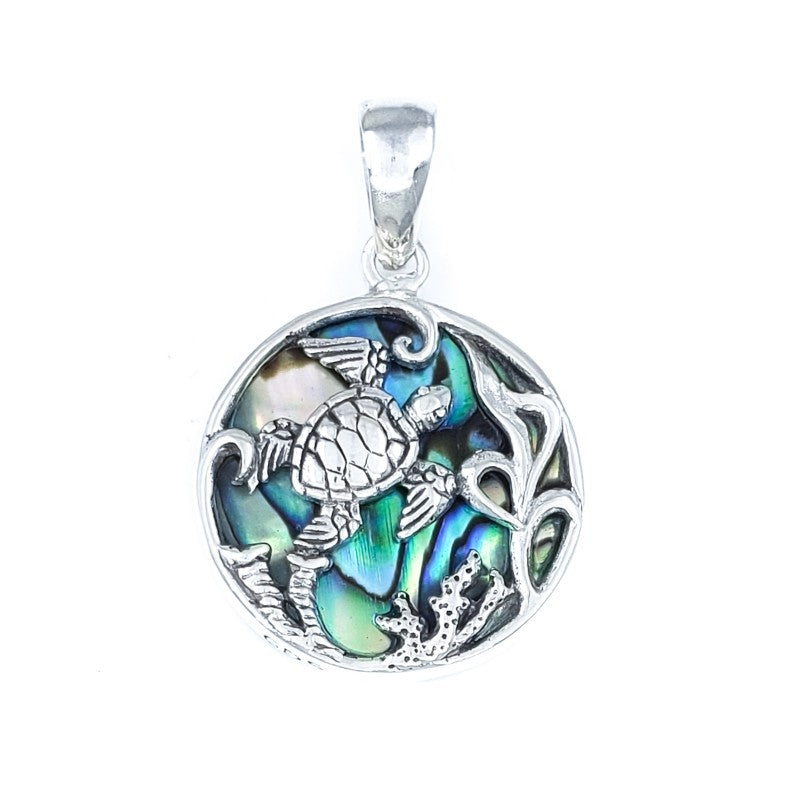 Round Sterling Silver Turtle Pendant with Abalone