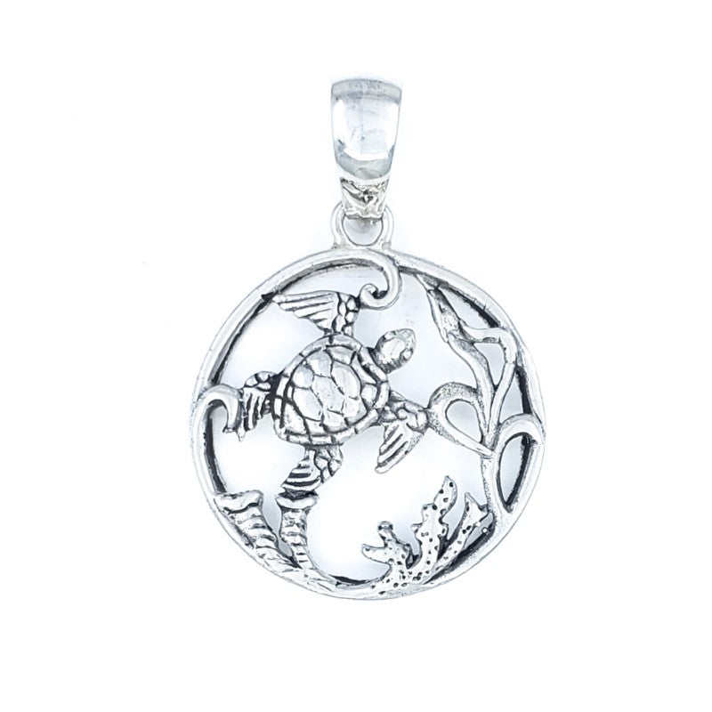 Round Sterling Silver Turtle Pendant