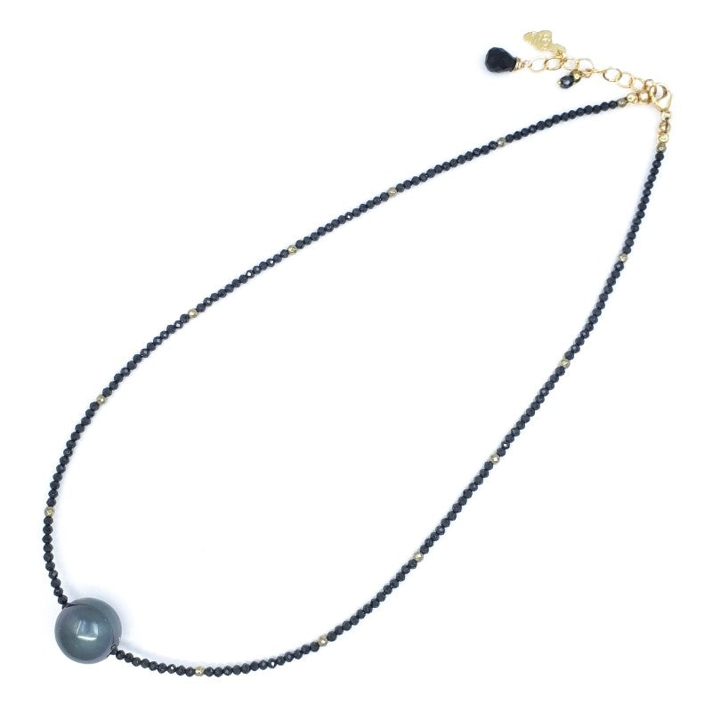 Black Spinel Necklace with 12mm Tahitian Pearl