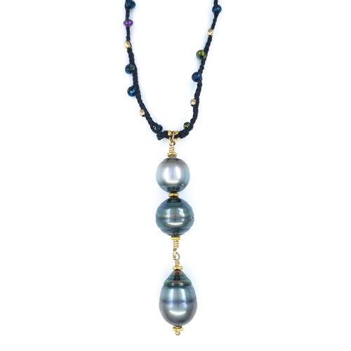 Long Braided Necklace with 3 Tahitian Pearls