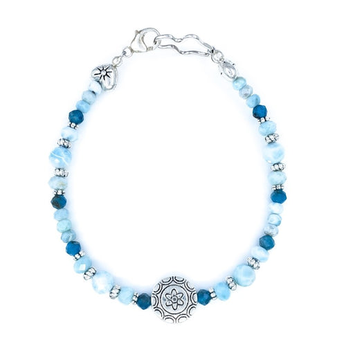 Larimar and Apatite Bracelet with Sterling Silver Hearts
