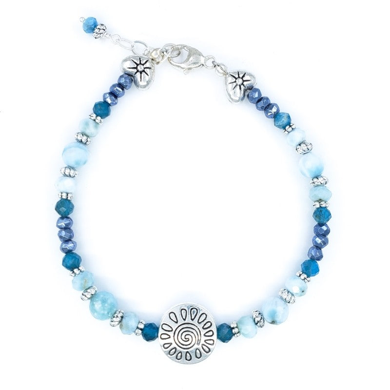 Larimar, Apatite and Mystic Spinel Bracelet with Sterling Silver Hearts