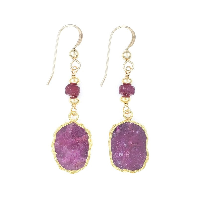 Gold Earrings with Rubies
