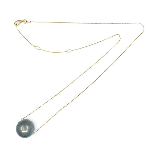 13mm Single Tahitian Pearl Solitaire Necklace with Adjustable 14k Gold Chain