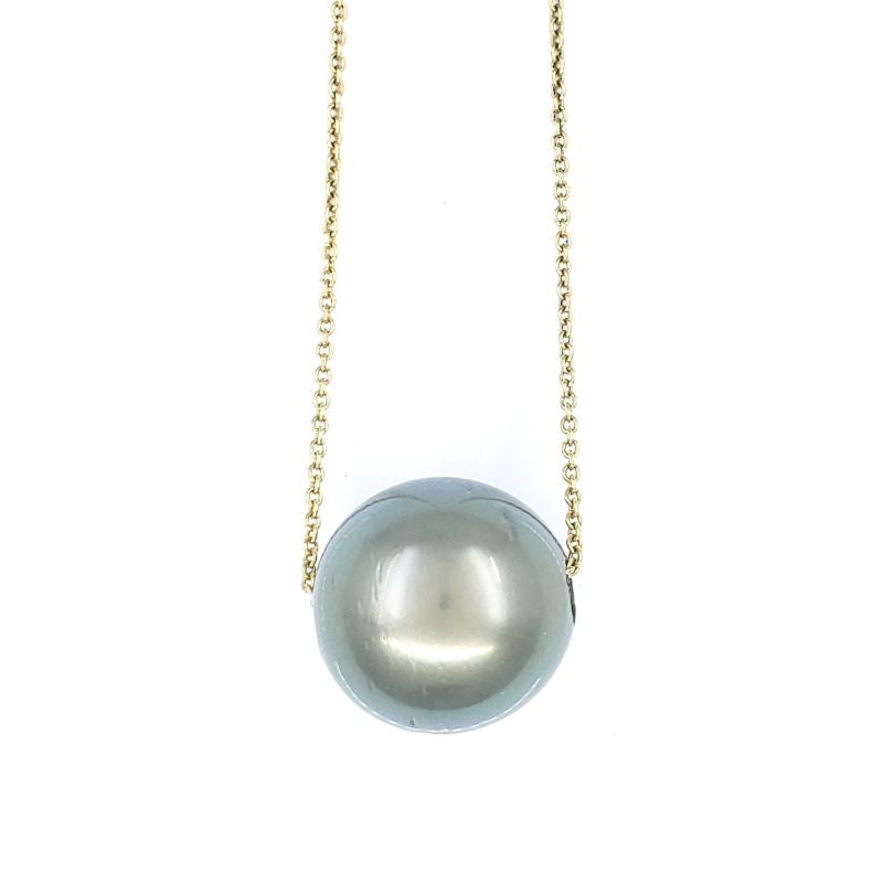 11mm Single Tahitian Pearl Solitaire Necklace with Adjustable 14k Gold Chain