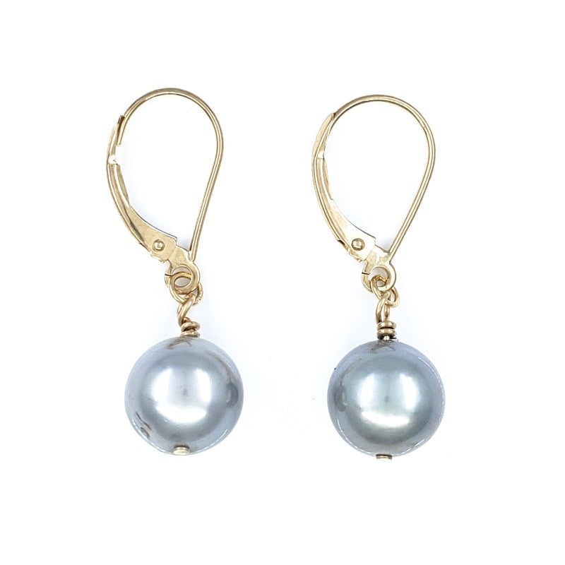 14k Gold Earrings with 8mm Platinum Tahitian Pearls
