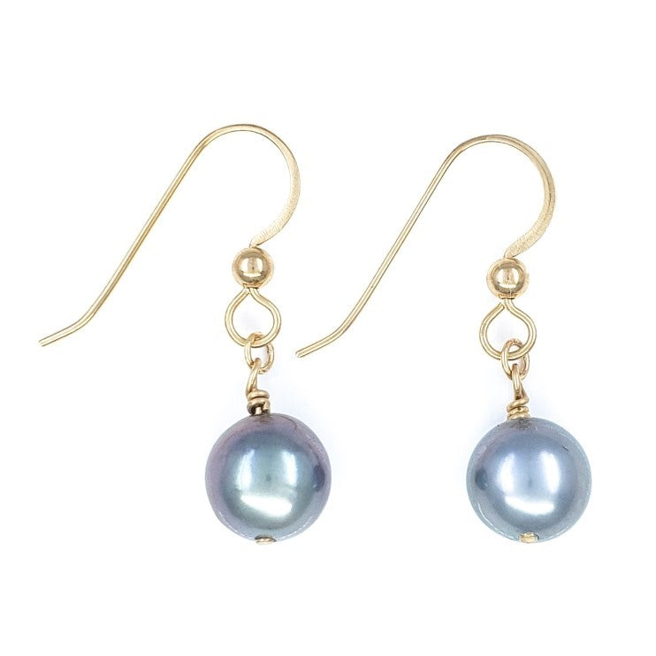 14k Gold Earrings with 8mm Tahitian Pearls