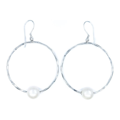 White Freshwater Pearls on Hammered Sterling Silver Hoop Earrings