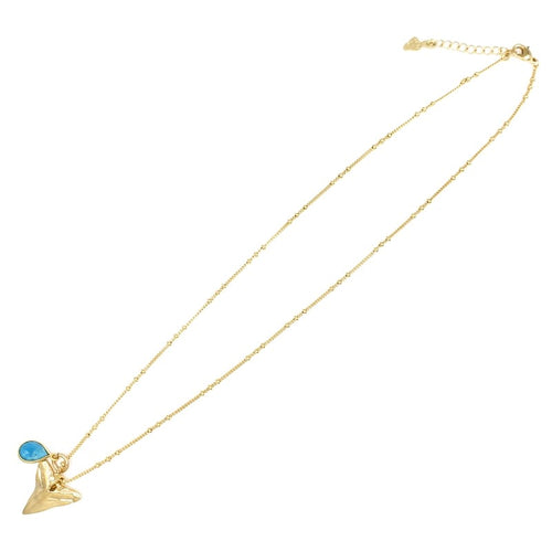 Gold Necklace with Shark Tooth and Turquoise