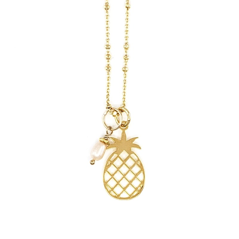 Gold Necklace with Pineapple and Pearl