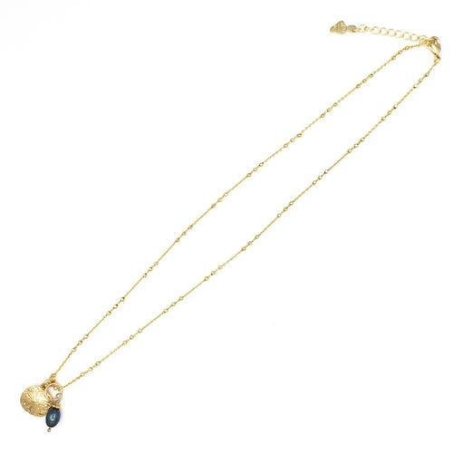 Gold Necklace with Sand Dollar and Dark Pearl