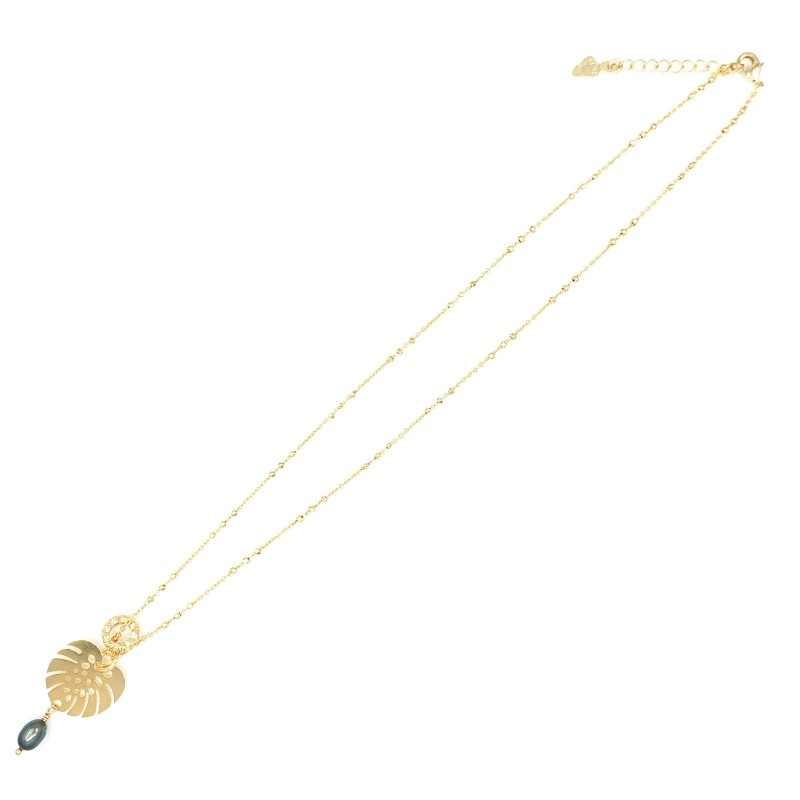 Gold Necklace with Monstera Leaf and Dark Pearl
