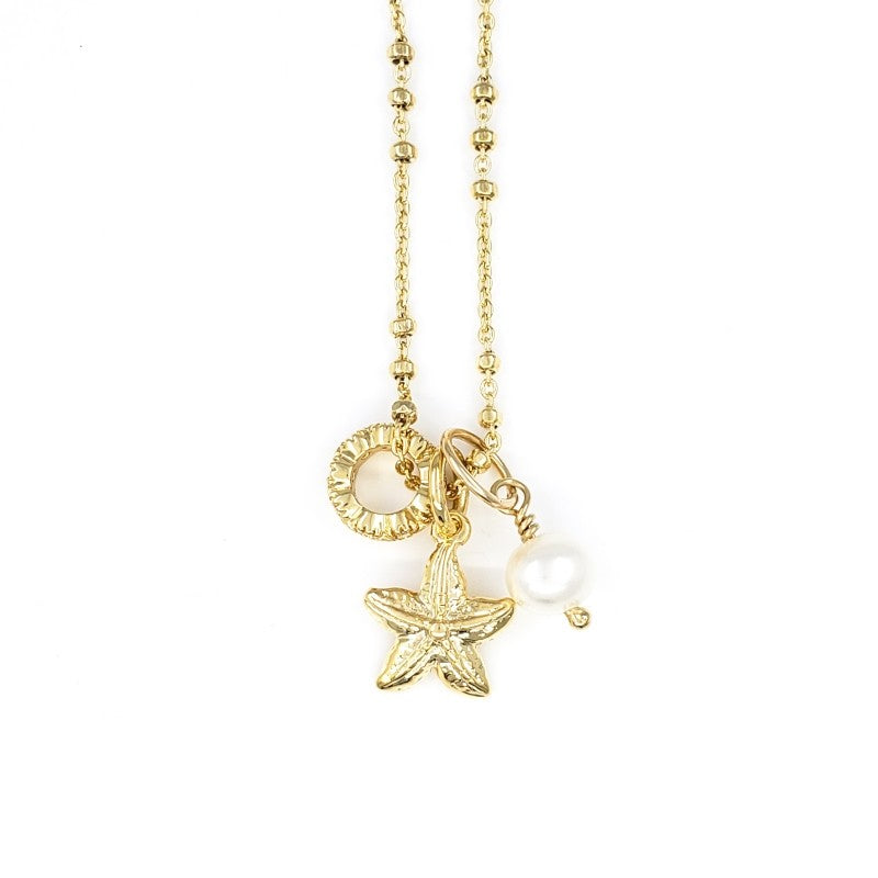 Gold Necklace with Starfish and Pearl