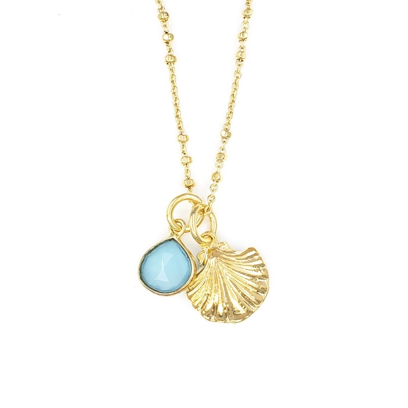 Gold Necklace with Shell and Chalcedony