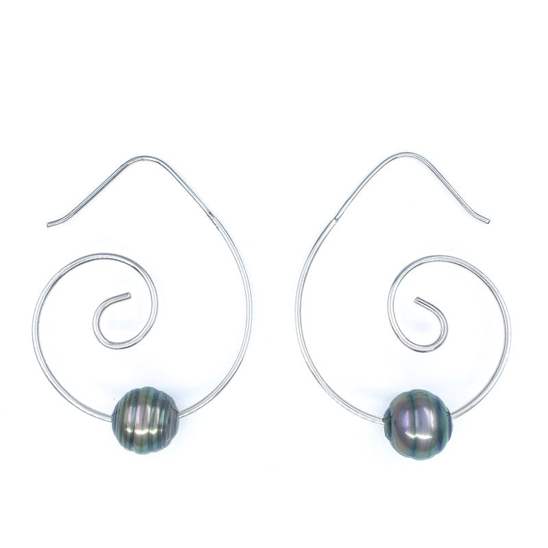 Sterling Silver Wave Hoops with Tahitian Pearls