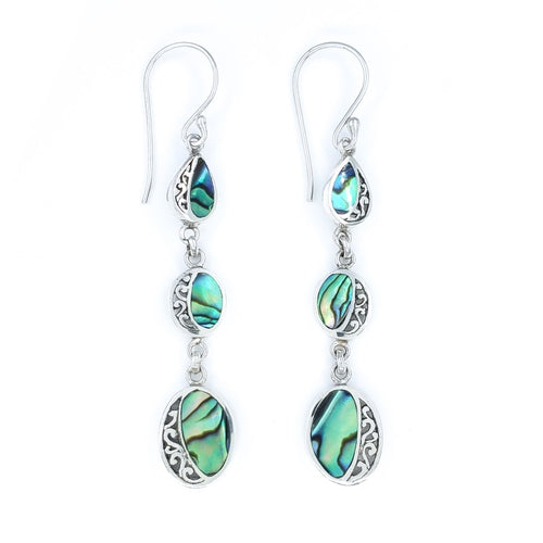Long Abalone Drop Earrings with Filigree