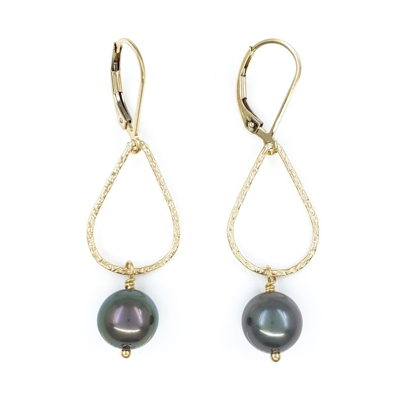 Droplet Gold Earrings with Peacock Tahitian Pearls