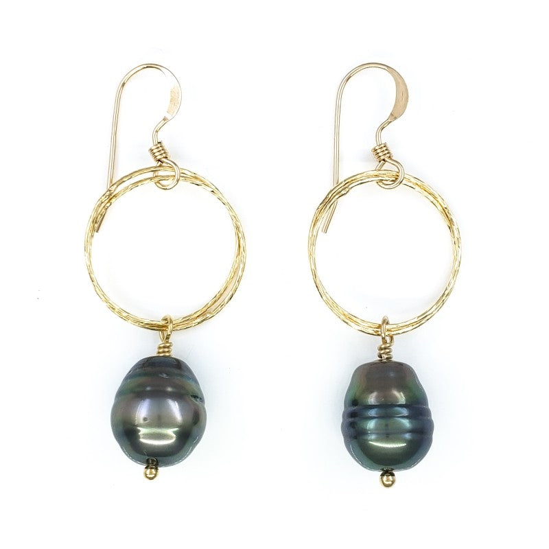 Round Gold Earrings with Tahitian Pearls