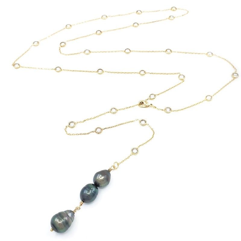 Long Gold Necklace with 3 Tahitian Pearls