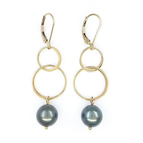 Long Dangly Gold Earrings with Peacock Tahitian Pearls