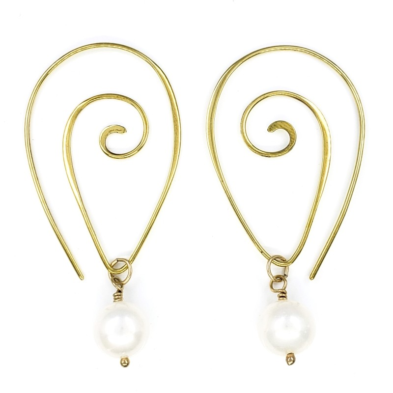 Gold Spiral Hoop Earrings with Freshwater Pearls