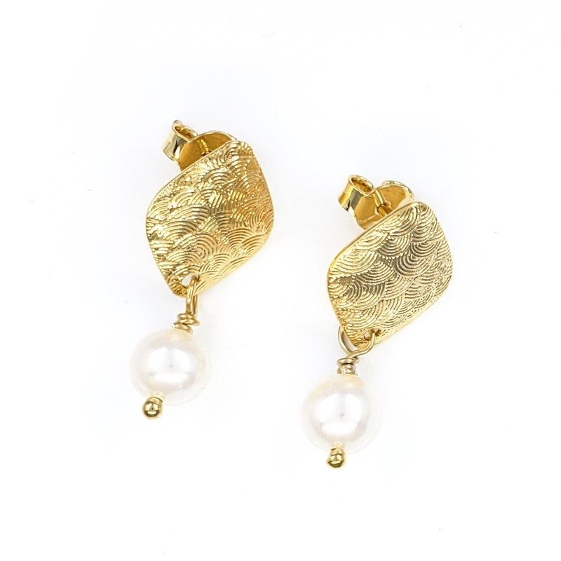 Gold Textured Stud Earrings with Freshwater Pearls