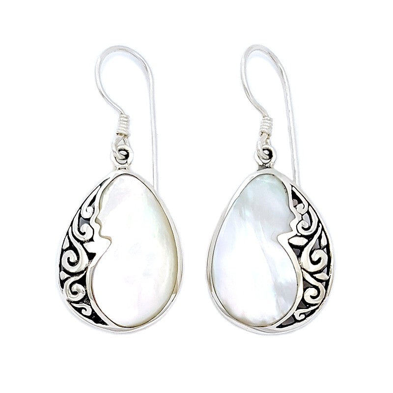 Small Filigreed Droplet Earrings with Mother Of Pearl