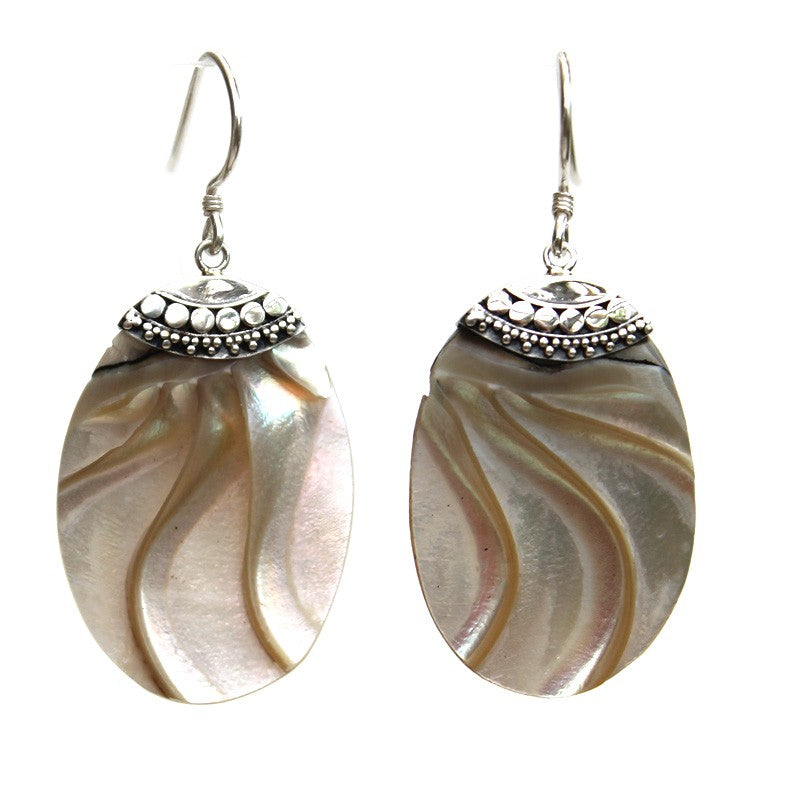 Oval Gold Nautilus Earrings with Filigree