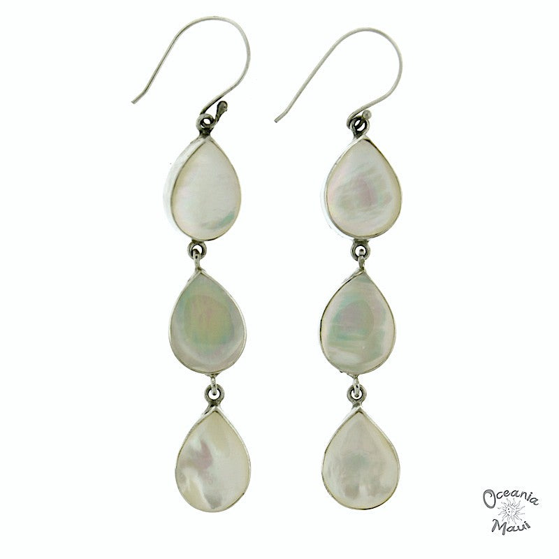 3 Drop White Mother of Pearl Earrings