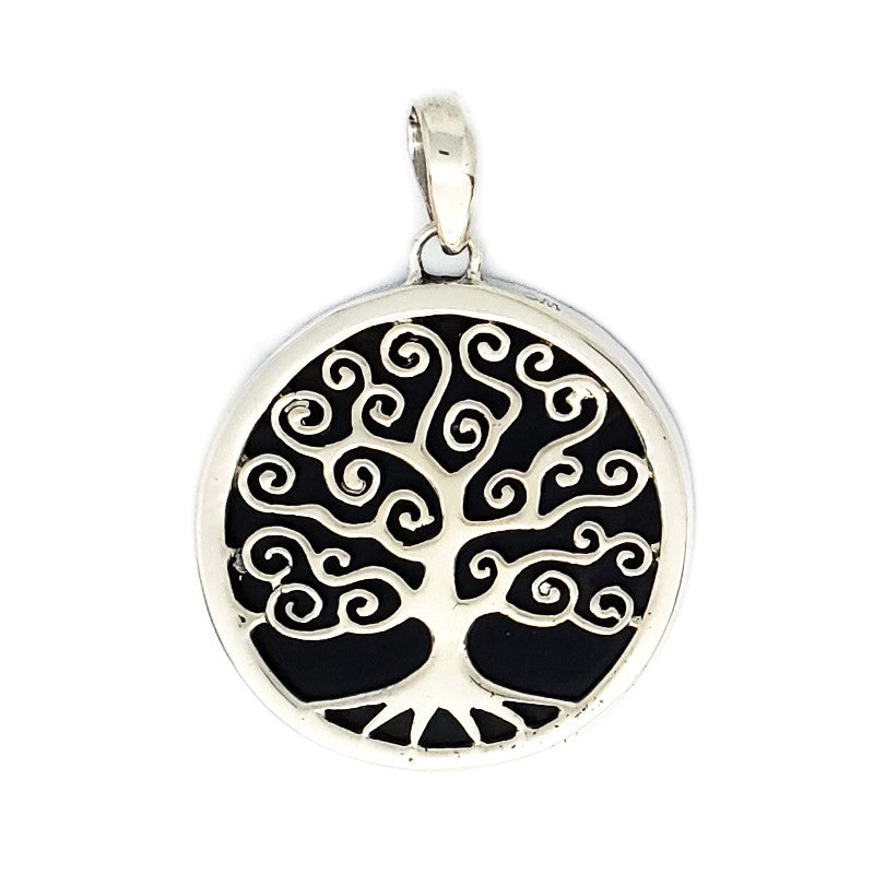 Round Silver Tree Pendant with Black Shell
