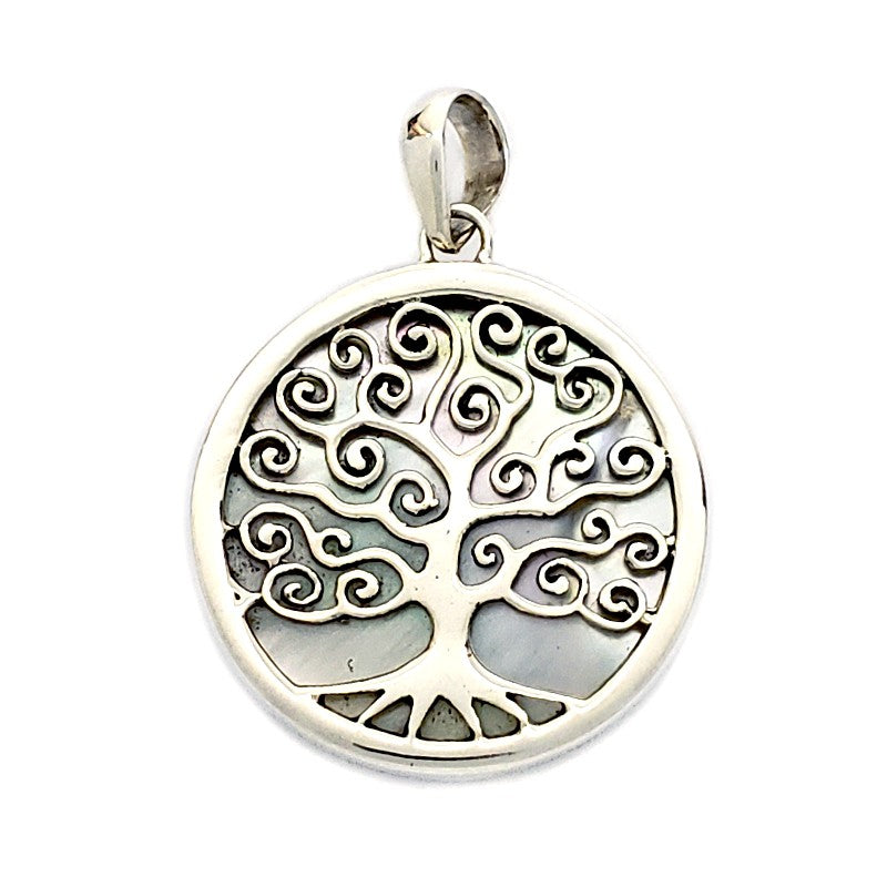 Round Silver Tree Pendant with White Mother of Pearl