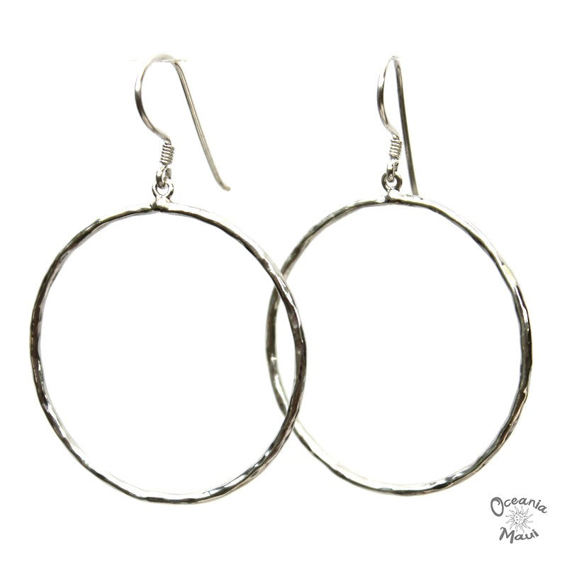 Medium Hammered Silver Hoop Earrings