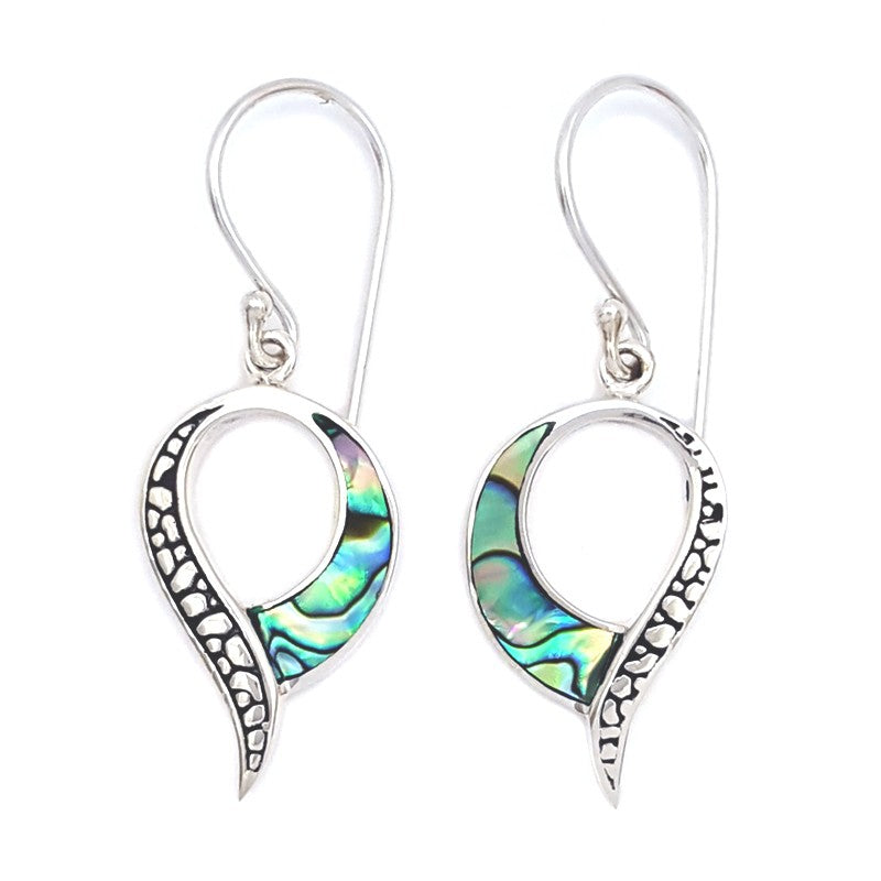 Dangling Abalone Earrings with Silver Filigree