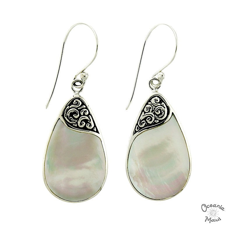 Elegant Drop Shaped White Mother of Pearl Earrings with Filigree