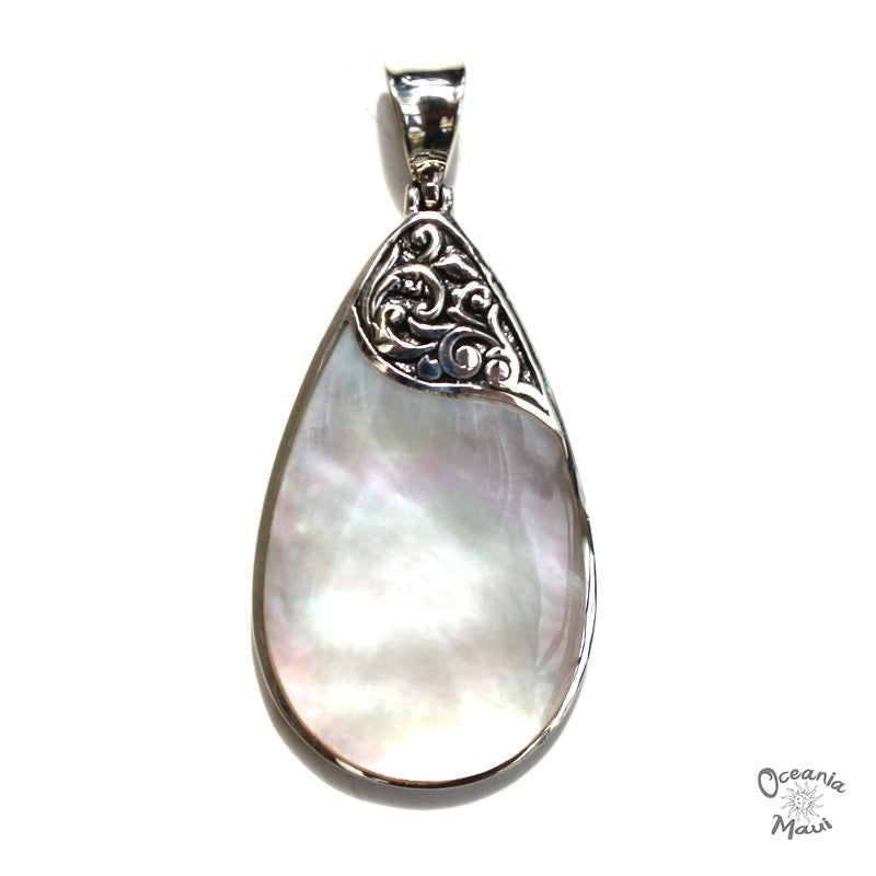 Medium White Mother of Pearl Droplet Pendant with Filigree