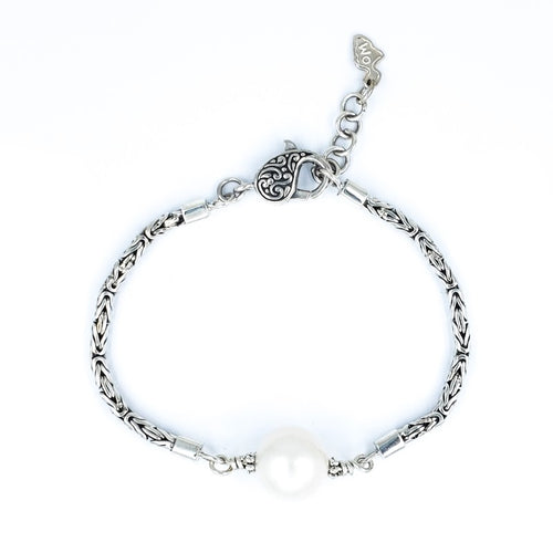 Handmade Sterling Silver Bracelet with White Edison Pearl