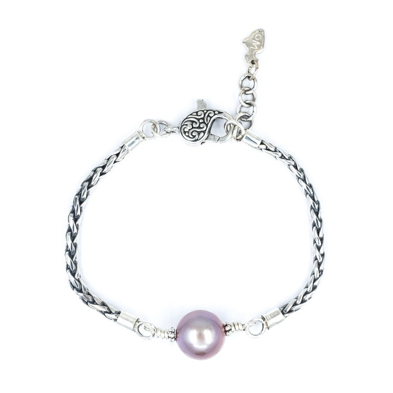 Handmade Sterling Silver Bracelet with Lavender Edison Pearl
