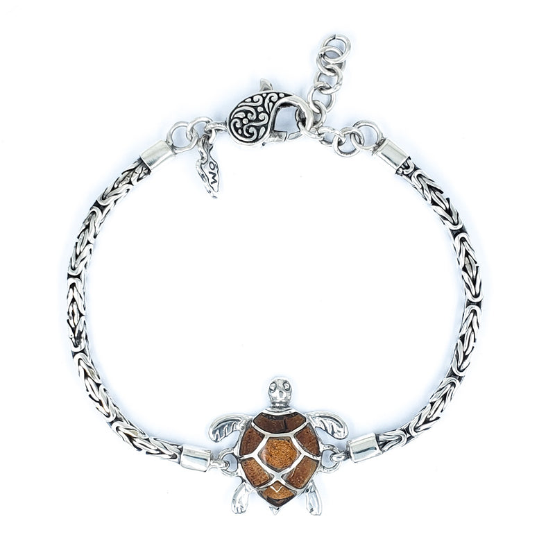 Small Sterling Silver Turtle Bracelet with Koa Wood