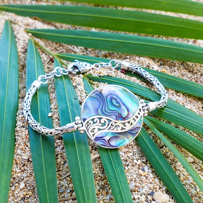 Round Abalone Bracelet with Filigreed Sterling Silver Waves