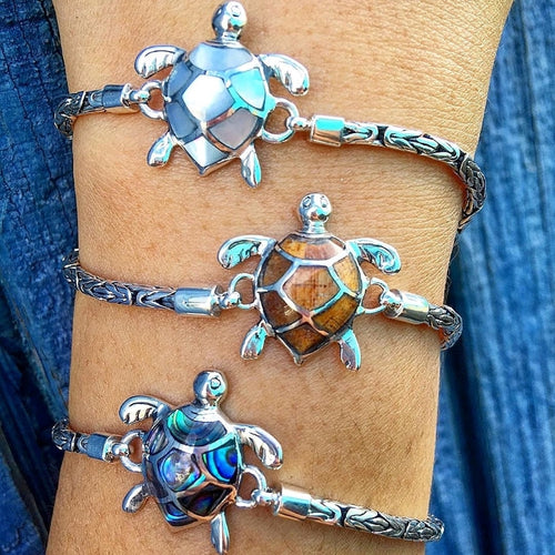 Small Sterling Silver Turtle Bracelet with Mother Of Pearl