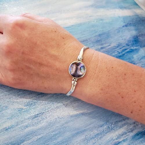 Abalone Bracelet with Wavy Sterling Silver Band