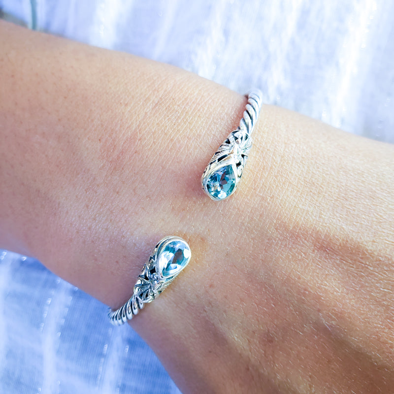 Sterling Silver Hinged Cuff Bracelet with Blue Topaz