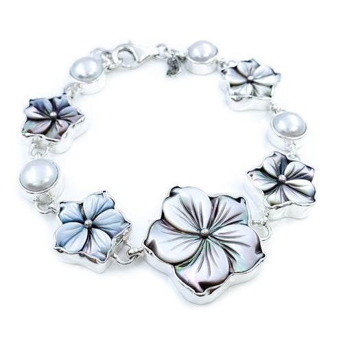 Gray Mother of Pearl Hibiscus Bracelet with Freshwater Pearls