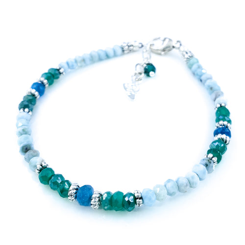 Larimar, Apatite, and Mystic Aventurine Bracelet in Sterling Silver