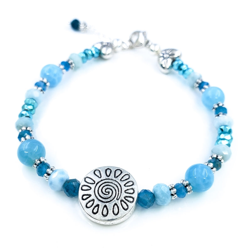 Larimar, Apatite, and Mystic Pyrite Bracelet with Sterling Silver Hearts