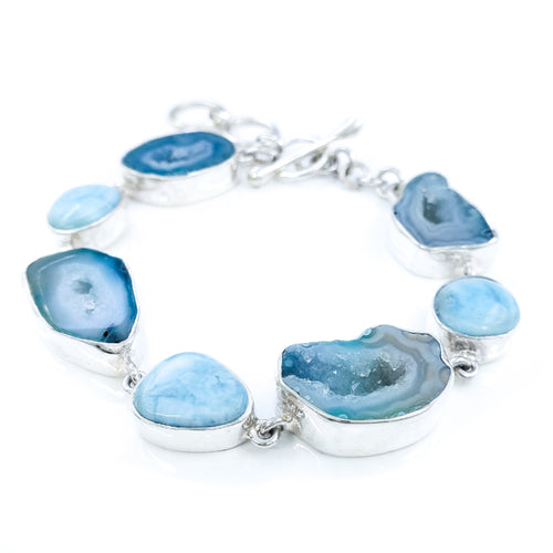 Seafoam Agate Sterling Silver Bracelet with Larimar